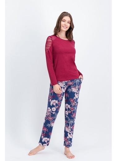 Arnetta Arnetta Carnation Lace Bordo Kadın Büyük Beden Pijama Takımı Kırmızı